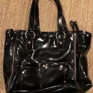 Liz Claiborne black patent tote bag